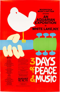 Large Woodstock Advertising Poster from Collection of Promoter Michael Lang