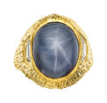 Estate Jewelry:Rings, Gentleman's Star Sapphire, Diamond, Gold Ring. ...