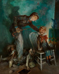 Paintings, Everett Shinn (American, 1876-1953). The Ventriloquist, 1927. Oil on canvas. 36 x 29 inches (91.4 x 73.7 cm). Signed and...