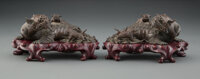 A Pair of Chinese Bronze Lions 3 x 8-3/4 x 5-3/4 inches (7.6 x 22.2 x 14.6 cm) (each) 4309.1 grams (overall, e