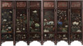 Furniture, A Chinese Jade and Hardstone-Inlaid Wood Six-Panel Screen, Qing Dynasty, 19th century. 62 x 114 inches (157.5 x 289.6 cm). ... (Total: 6 Items)