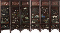 A Chinese Jade and Hardstone-Inlaid Wood Six-Panel Screen, Qing Dynasty, 19th century 62 x 114 inches (157.5 x 289.6 cm)...
