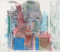 Works on Paper, Dennis Oppenheim (1938-2011). Study for the Impersonation Station: Project for Police Precinct, Olympics, Seoul, Korea, ...
