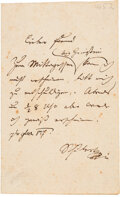 Autographs:Artists, Franz Schubert Autograph Letter Signed ...