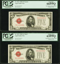 Small Size:Legal Tender Notes, Changeover Pair Fr. 1531/1531 $5 1928F Narrow/Wide I Legal Tender Note. PCGS Gem New 66PPQ and Choice New 63PPQ.. ... (Total: 2 notes)
