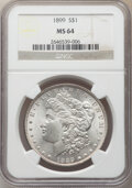 Morgan Dollars: , 1899 $1 MS64 NGC. NGC Census: (3211/719). PCGS Population: (4692/1929). CDN: $285 Whsle. Bid for NGC/PCGS MS64. Mintage 330...