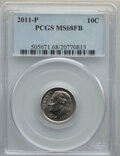 Roosevelt Dimes, 2011-P 10C MS68 Full Bands PCGS. PCGS Population: (9/0). . From The Maltese Collection....