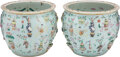 Ceramics & Porcelain, A Pair of Chinese Hundred Antiques Enameled Porcelain Fish Bowls 19th century . 16 x 18-1/4 inches (40.6 x 46.4 ... (Total: 2 Items)