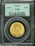 Indian Eagles: , 1913 $10 AU50 PCGS. A lightly circulated example with ...