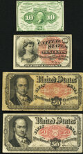 Fr. 1242 10¢ First Issue Extremely Fine-About Uncirculated; Fr. 1259 10¢ Fourth Issue Fine-Very Fine; Fr. 1381...