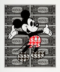 Ben Allen (b. 1979) Monster Mickey XL (Gold Leaf Shoes), early 21st century Giclée print in colors on Fine Art te...