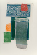 Prints & Multiples, Robert Rauschenberg (1925-2008). Platter, from Airport Series, 1974. Relief, intaglio and collage, in colors on whit...