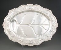 A Gorham Mfg. Co. Silver Footed Meat Platter Retailed by Bailey, Banks & Biddle Co., Providence, Rhode Island, early...