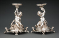 A Pair of Christofle Silver-Plated Figural Centerpieces, Paris, mid-19th century Marks: CHRISTOFLE, (various) 9 x 7-1...