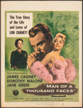 """Movie Posters:Drama, Man of a Thousand Faces (Universal International, 1957). Folded, Fine+. Trimmed Window Card (14"""" X 18.5""""). Drama.. ..."""