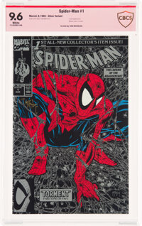 Spider-Man 1 Silver Edition Unbagged Verified Signature - Todd McFarlane (Marvel, 1990) CBCS NM+ 9.6 White pages