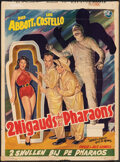 """Movie Posters:Comedy, Abbott and Costello Meet the Mummy (Universal International, 1955). Folded, Fine+. Trimmed Belgian (13.75"""" X 18.5""""). Comedy...."""