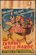 """Movie Posters:Comedy, Road to Morocco (Paramount, Late 1940s). Folded, Fine+. First Post-War Release Autographed Belgian (14"""" X 21.5""""). Comedy.. ..."""