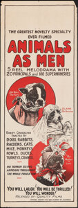 """Movie Posters:Comedy, Animals as Men (Quality, 1920s). Rolled, Fine/Very Fine. Australian Pre-War Daybill (15"""" X 40""""). Comedy.. ..."""