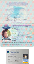 Music Memorabilia:Autographs and Signed Items, Whitney Houston Signed Passport with Unsigned Wachovia Bank Card (2003)....