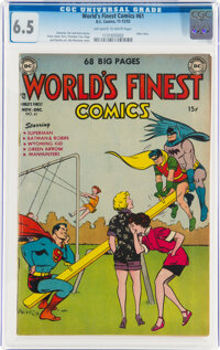 World's Finest Comics #61 (DC, 1952) CGC FN+ 6.5 Off-white to white pages
