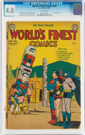Golden Age (1938-1955):Superhero, World's Finest Comics #58 (DC, 1952) CGC VG 4.0 Off-white pages....