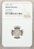 Proof Three Cent Silver, 1863 3CS -- Cleaned -- NGC Details. Proof. Mintage 460....