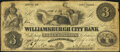 Obsoletes By State:New York, Williamsburgh, NY- Williamsburgh City Bank $3 Apr. 15, 1861 Counterfeit Very Fine.. ...