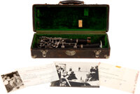 Benny Goodman Owned Clarinet With Case, Photos, and Signed Telegram