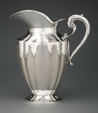 A Mexican Silver Pitcher, late 20th century Marks: REAL SILVER FACTORY, STERLING, (eagle-MEXICO), 92