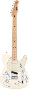 Musical Instruments:Electric Guitars, Lou Reed/Moe Tucker/John Cale Signed Fender Squire Telecaster Serial #MN407039....