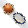 Estate Jewelry:Rings, Opal, Moonstone, Sapphire, Gold Rings. ... (Total: 2 Items)