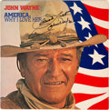 Movie/TV Memorabilia:Autographs and Signed Items, John Wayne Signed and Inscribed America, Why...