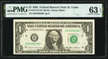 Fr. 1913-H* $1 1985 Federal Reserve Note. PMG Choice Uncirculated 63 EPQ