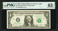Fr. 1913-H $1 1985 Federal Reserve Note. PMG Choice Uncirculated 63 EPQ
