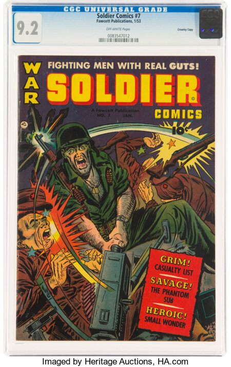 Soldier Comics #7 Crowley Copy Pedigree (Fawcett Publications, 1953) CGC NM- 9.2 Off-white pages....
