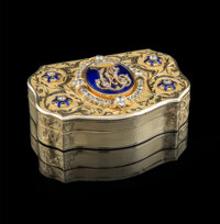 A Louis-François Tronquoy 18K Gold, Diamond, and Guilloche Enamel Snuff Box, Paris, mid-19th century and later Ma...