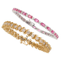 Diamond, Pink Sapphire, Gold Bracelets ... (Total: 2 Items)