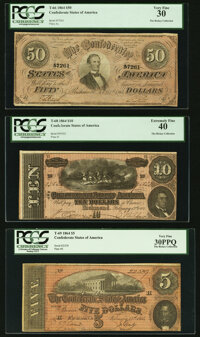 Three Comment Free 1864 Confederate Notes PCGS Graded. T66 $50 1864 Very Fine 30; T68 $10 1864 Extremely Fine 40;... (To...