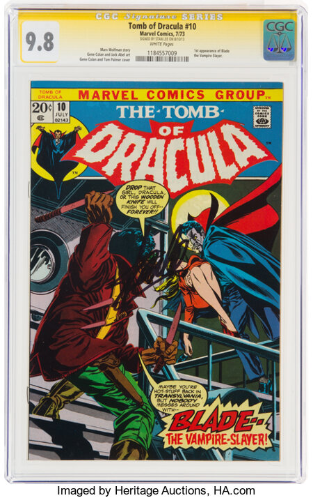 Tomb of Dracula #10 (Marvel, 1973) CGC Signature Series Signed by Stan Lee NM/MT 9.8 White pages....