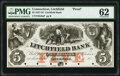 Obsoletes By State:Connecticut, Litchfield, CT- Litchfield Bank $5 18__ G6a Proof ...