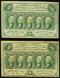 Fr. 1312 50¢ First Issue XF; Fr. 1312 50¢ First Issue Fine. ... (Total: 2 notes)