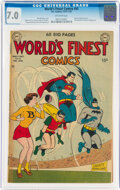 Golden Age (1938-1955):Superhero, World's Finest Comics #55 (DC, 1951) CGC FN/VF 7.0 Off-white pages....