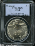 Modern Issues: , 1992-D $1 Columbus Silver Dollar MS70 PCGS. ...