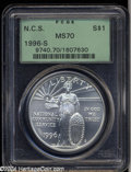 Modern Issues: , 1996-S $1 Community Service Silver Dollar MS70 PCGS. We ...