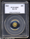 California Fractional Gold: , 1864 25C Liberty Octagonal 25 Cents, BG-735, R.4, MS62 PCGS....