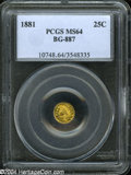 California Fractional Gold: , 1881 25C Indian Round 25 Cents, BG-887, R.3, MS64 PCGS. ...