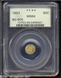 California Fractional Gold: , 1867 50C Liberty Octagonal 50 Cents, BG-905, Low R.5, MS64 ...