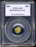 California Fractional Gold: , 1864 50C Liberty Octagonal 50 Cents, BG-918, R.4, AU58 PCGS....