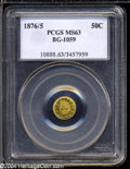 California Fractional Gold: , 1876/5 50C Indian Round 50 Cents, BG-1059, R.4, MS63 PCGS.